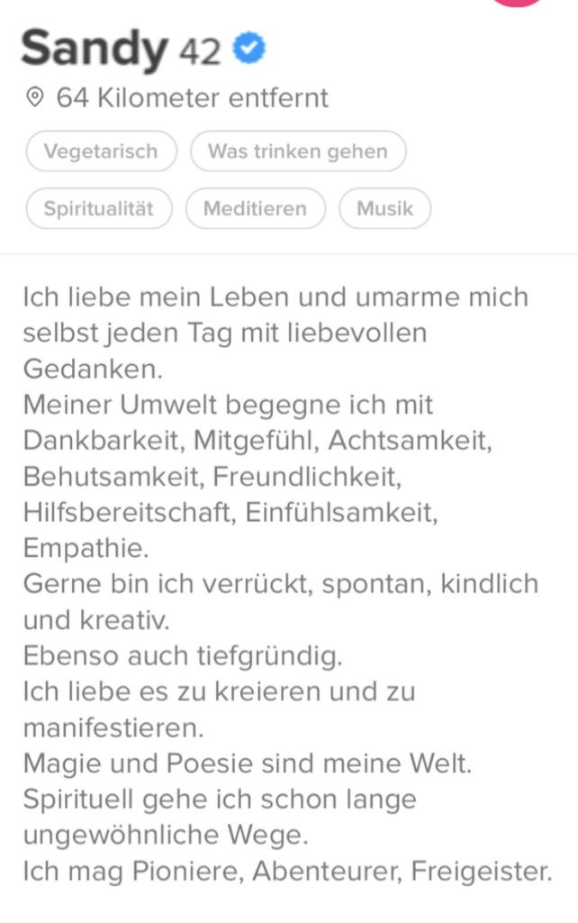 Tinder Profiltext